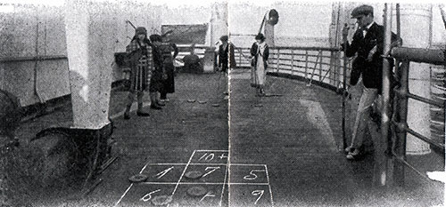 Passengers Play a Game of Shuffleboard on Deck.