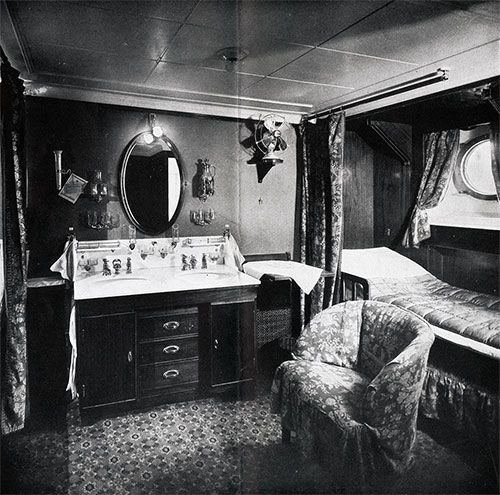 First Class Stateroom for Two, Partial View -- Commodious and Comfortable.