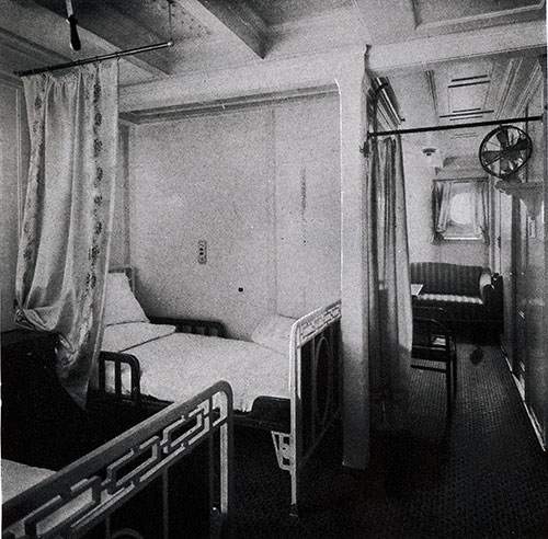 L-Shaped First Class Stateroom - A Favorite Type of Transatlantic Travelers.