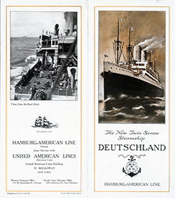 Brochure Cover, The New Twin Screw Steamship Deutschland of the Hamburg-American Line.