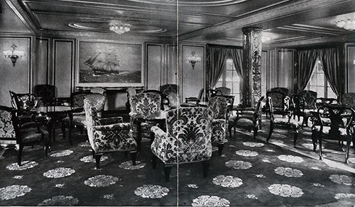 First Class Lounge on the SS Deutschland.