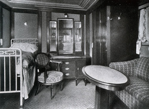 View of a First Class Stateroom on the SS Deutschland.