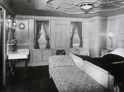 View of Stateroom in a First Class Suite.