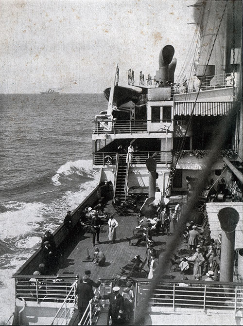 Passengers on the Boat Deck of the SS Deutschland.