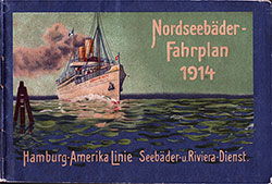 Front Cover, 1914 Brochure from the Hamburg-American Line for North Sea Resorts Timetables