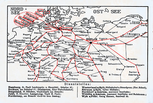 Map of Germany and the North Sea Listing Department of HAPAG.