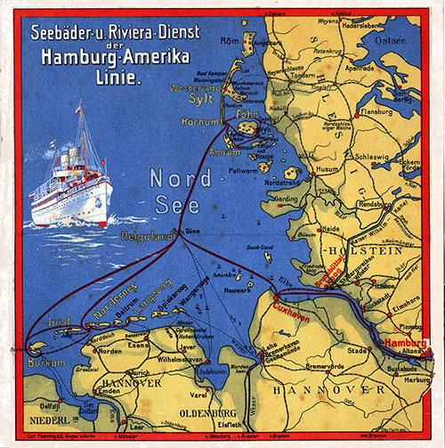 Map of the Seaside Resorts and Riviera Service of the Hamburg-American Line.