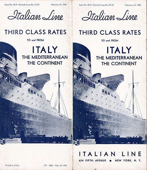 Cover of Brochure from the Italian Line on Third Class Rates from 1938.