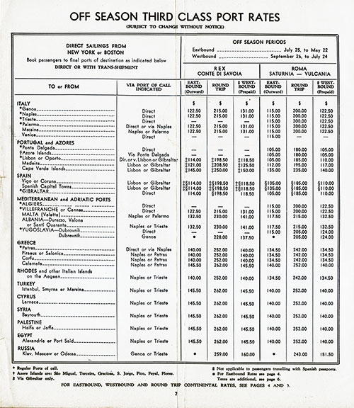 Off-Season Third Class Port Rates For Direct Sailing from New York or Boston Including Return Passage.