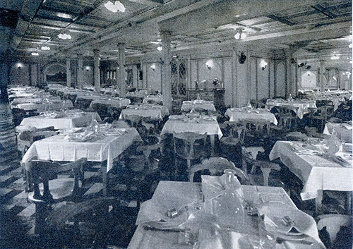 Third Class Dining Room on the SS Rex.