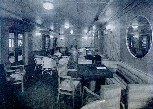 Third Class Ladies' Lounge on the SS Conte di Savoia.