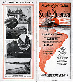 1927 Brochure Cover for Tourist Third Cabin to South America from Lamport & Holt Line.