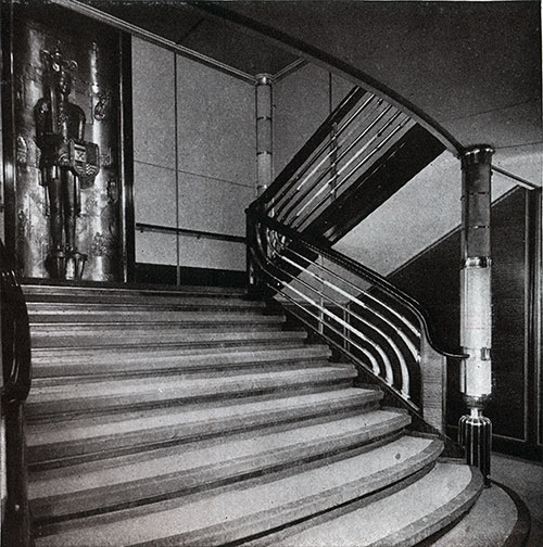 SS Bremen First Class Staircase.