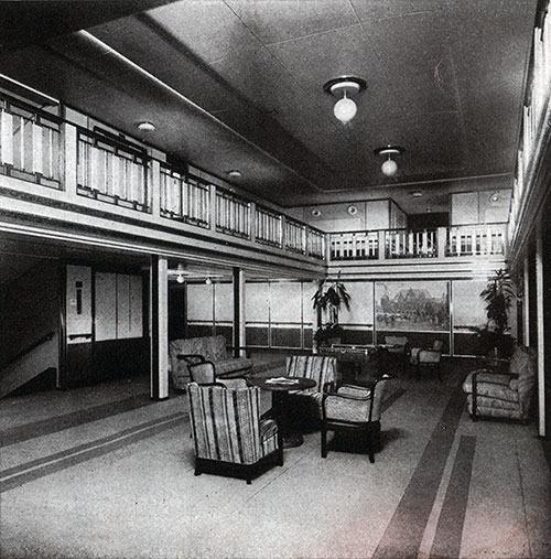 First Class Lobby on the SS Bremen.