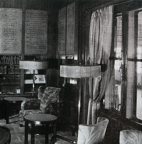 A Corner of the First Class Library on the SS Bremen.