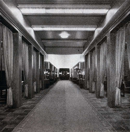 The Shopping Promenade on the SS Bremen.
