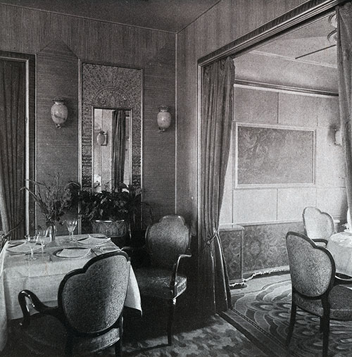 A View of the Corner of a Restaurant on the SS Bremen.