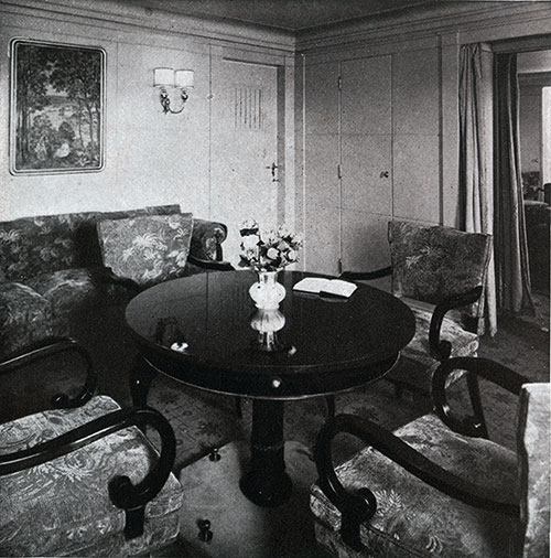 First Class Deluxe Suite Sitting Room on the SS Bremen.