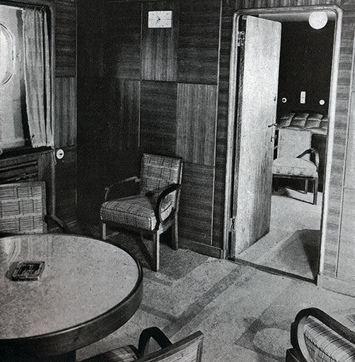 Typical Sitting Room of a First Class Stateroom on the SS Bremen.