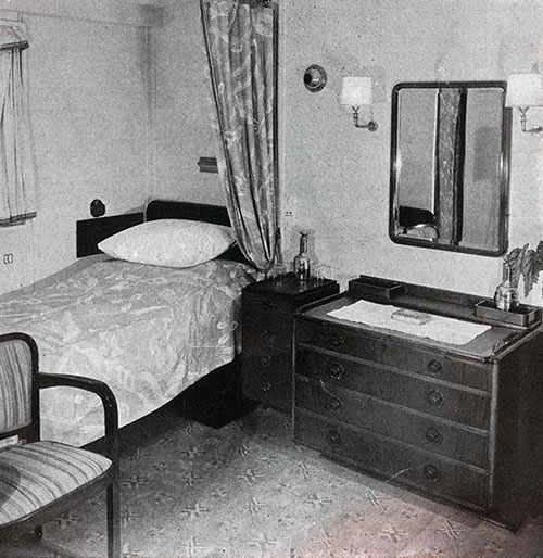 Typical First Class Stateroom on the SS Bremen.