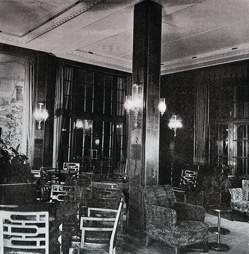A Corner of the Second Class Lounge on the SS Bremen.