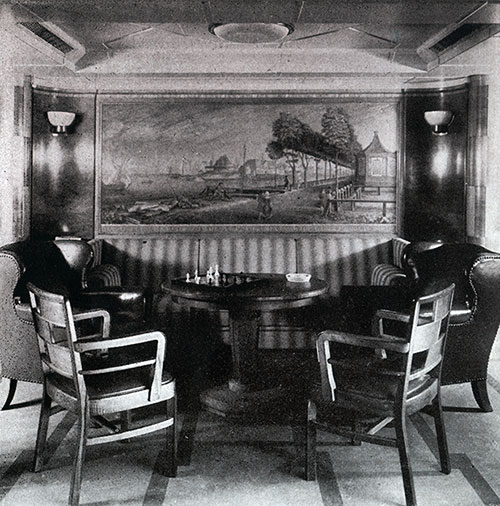 A Corner of the Second Class Smoking Room on the SS Bremen.