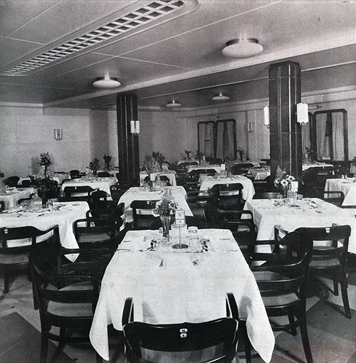A Section of the Tourist Third Class Dining Room on the SS Bremen.