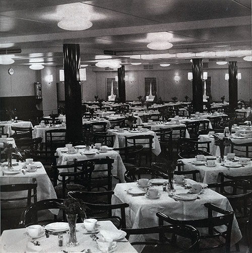 Third Class Dining Room on the SS Bremen.