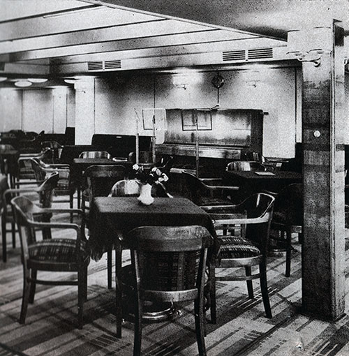 View of the Piano in the Third Class Social Hall on the SS Bremen.