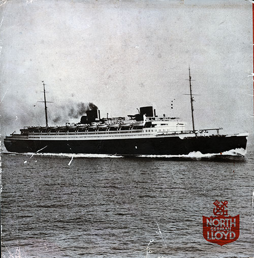 Back Cover of the SS Bremen Brochure from Nordeutscher Lloyd Bremen Showing the Ship at Sea.