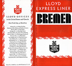 Covers for theNorth German Lloyd Brochure on their Expres Liner Bremen dated 15 November 1929.