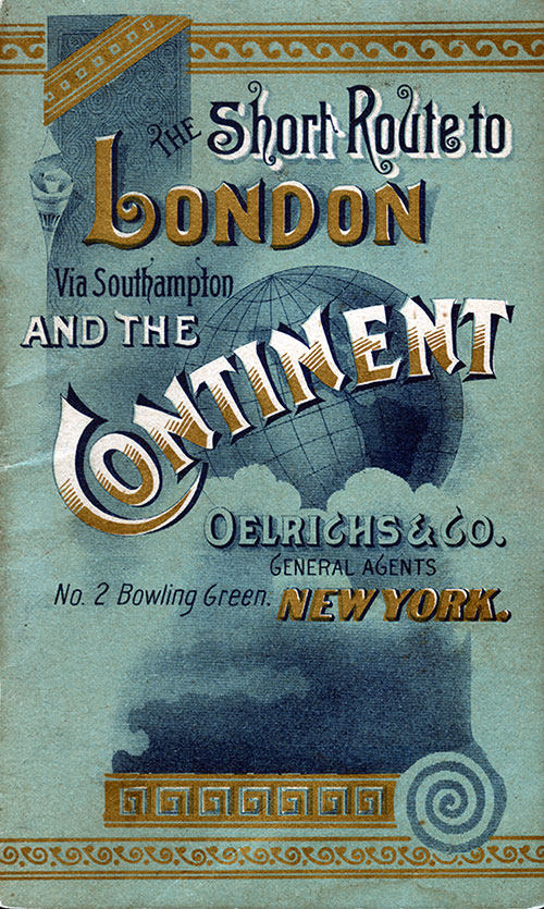 "Front Cover of 1889 Brochure from North German Lloyd ""Short Route to London via Southampton and the Continent."""