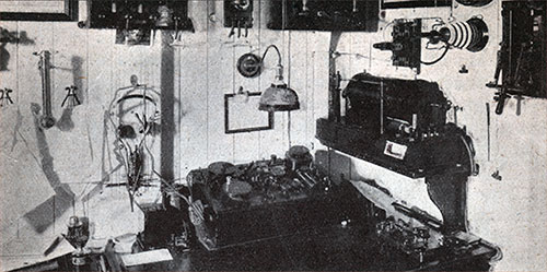 Interior of wireless telegraph station.