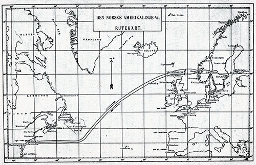 Track Chart of the Norwegian-America Line.