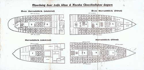 Floor plan over the 3rd class of the Norwegian American Line steamers