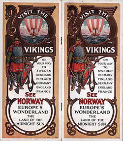 "Front Cover, 1920s Brochure from the Norwegian America Line ""Visit the Vikings"""