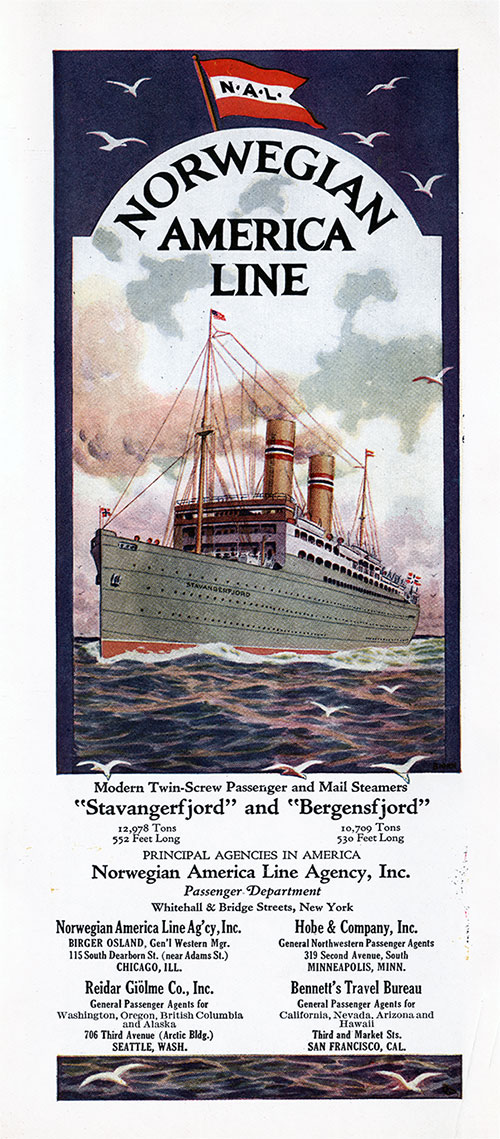 "Title Page Featuring a Painting of the Modern Twin-Screw Passenger and Mail Steamers ""Stavangerfjord"" and ""Bergensfjord."""