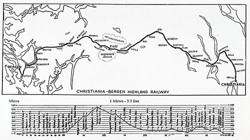Map of Christiania-Bergen Highland Railway.