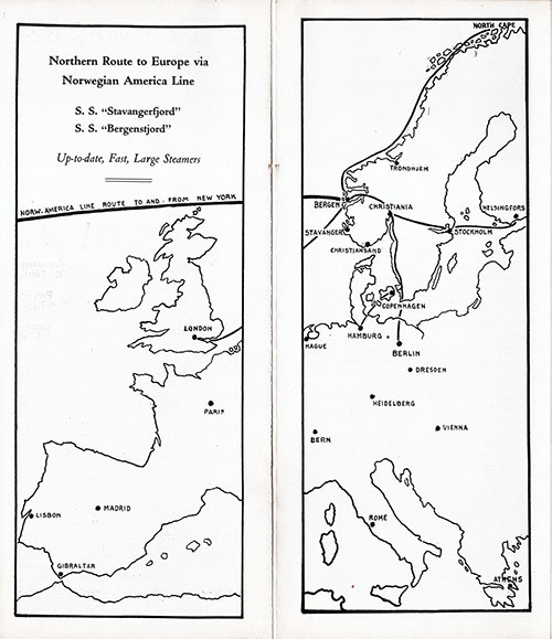 Map of Northern Route to Europe via Norwegian America Line.