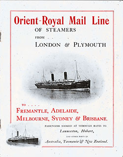 Front Cover, Brochure from the Orient-Royal Mail Line of Steamers