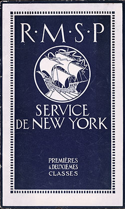Front Brochure Cover, RMSP New York Service - First and Second Class - 1921.