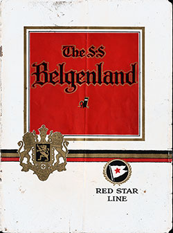 Front Cover of 1924 Brochure The SS Belgenland of the Red Star Line.