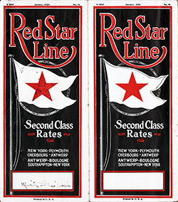 Brochure Cover, Red Star Line Second Class Rates