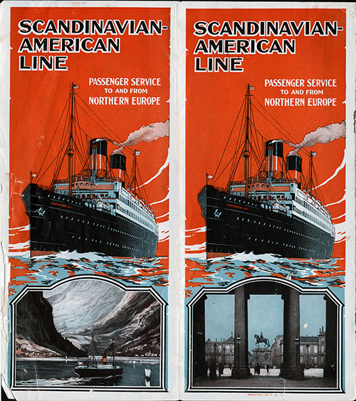 Brochure Cover, Passenger Service to and from Northern Europe by the Scandinavian American Line.