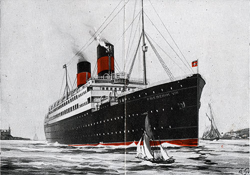 The SS Frederik VIII of the Scandinavian American Line.