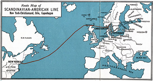 Route Map of the Scandinavian American Line. New York-Kristiansand-Oslo-Copenhagen.