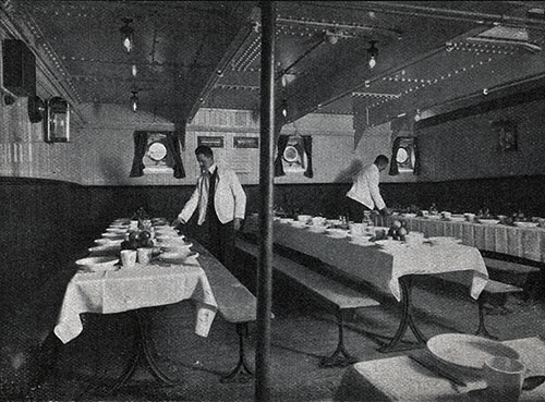 Attendants Prepare the Third Class Dining Room for the Next Meal.