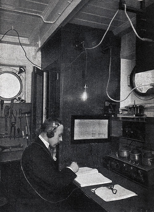 Marconi Wireless Operator at His Station.