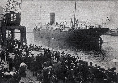 Crowds on the Scandinavian-American Line Pier Cheering Bon Voyage at the Steamer Departing from Copenhagen.