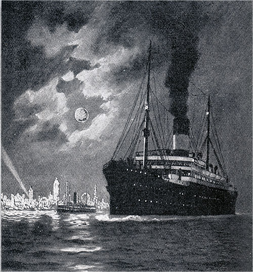 Scandinavian-American Line Steamship Approaching New York.